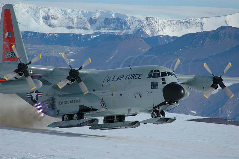 An LC-130 flown by the New York Air National Guard takes off from the Shackleton Glacier in Antarctica