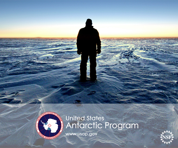 USAP logo over a panorama shot of the Polar Plateau at South Pole Station
