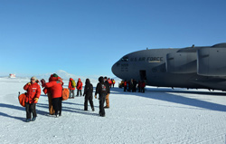 U.S. Antarctic Program participants arrive at Pegasus Airfield at the beginning of the austral summer field season.