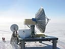 South Pole Marisat-GOES Terminal (SPMGT) and GOES backup antenna.