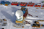 The newly constructed South Pole 10-meter Telescope at Amundsen-Scott South Pole Station.