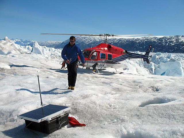 Dr. Gordon Hamilton, pictured here on the Helheim Glacier in Greenland during a previous season