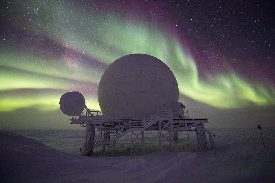 The 9 Meter Radome at South Pole Station houses the Skynet terminal