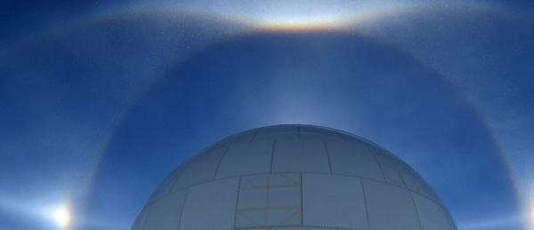 Sundogs Framed by the SPMGT Radome