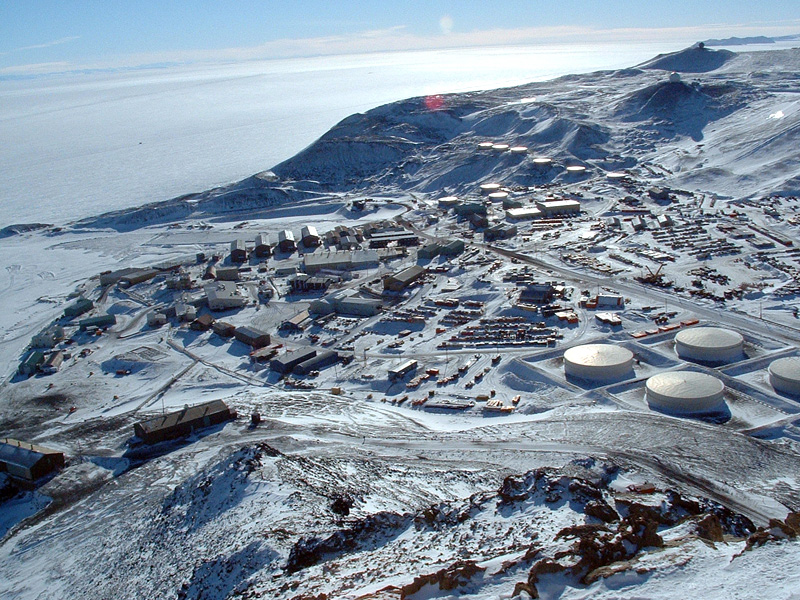 McMurdo Station in Antarctica view from the hill